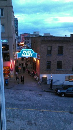 Inn at the Market:                   View of Post Alley from our corner room.