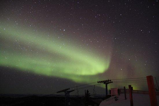 Ski Land: Aurora over the ski lift