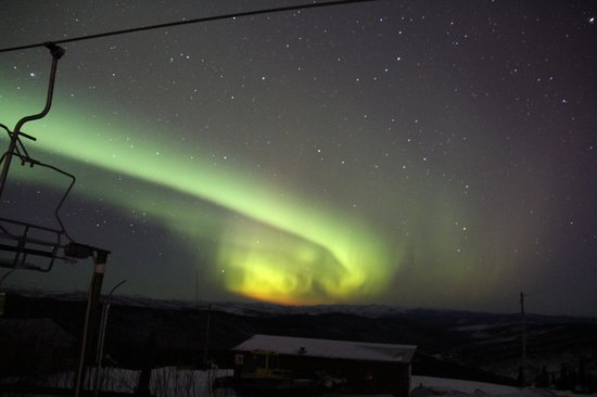 Fairbanks, AK: Aurora behind the ski lift