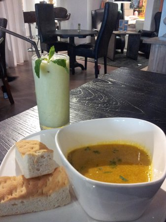The One Restaurant:                   Yummy soup, and healthy juice
