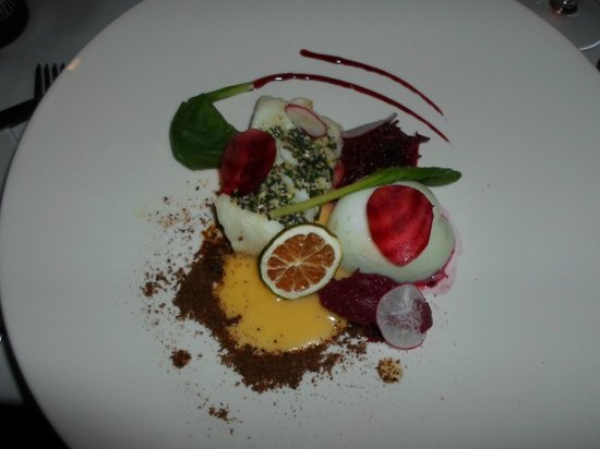 Fridrik V: Cod, 3 different types of beetroot, and duck egg