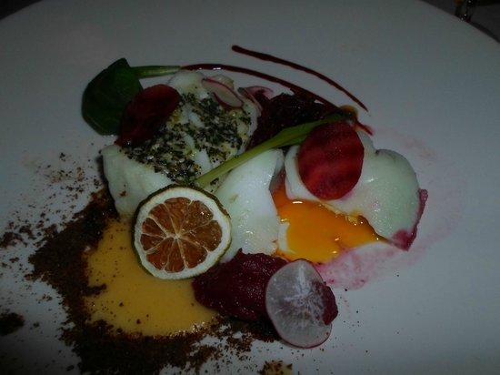 Fridrik V: Cod, 3 different types of beetroot, and perfectly runny duck egg