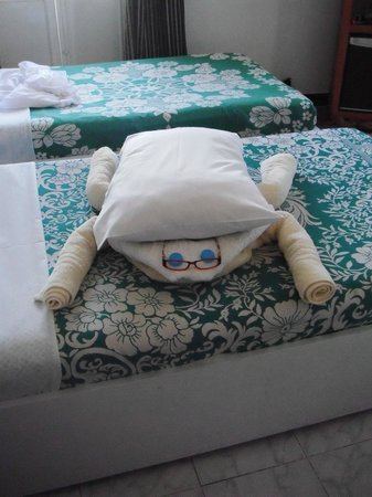 Nile Valley Hotel Restaurant: Towel scarab