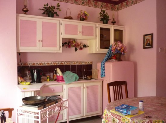 The Little Inn: kitchenette and pink fridge