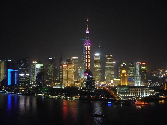 Hyatt on the Bund: View from Vue bar on 32nd floor - very similar to room view