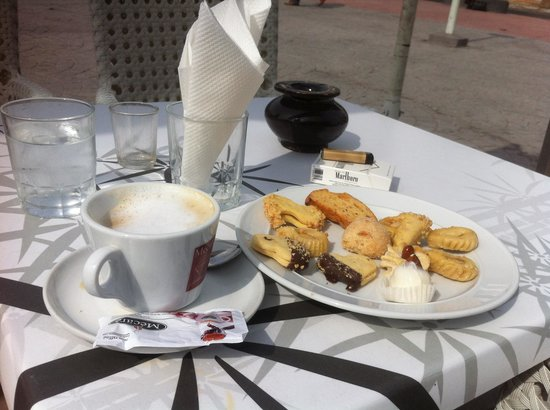 Patisserie Tafarnout : A coffee and a small selection of yummies. £2.50!