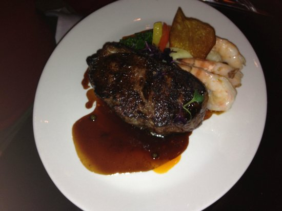 Twisted Lemon: 28 Day Dry aged 14 oz New York Strip with Butter Poached Jumbo Shrimp
