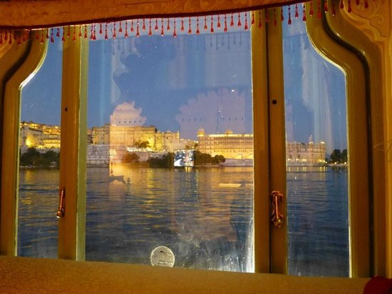Taj Lake Palace Udaipur: The City Palace at night from the suite