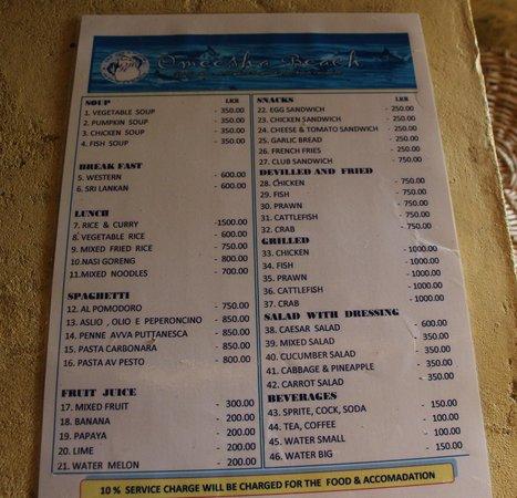 Omeesha Beach Hotel: The Menu