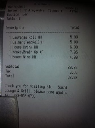 Blu Sushi: here example of happy hour prices