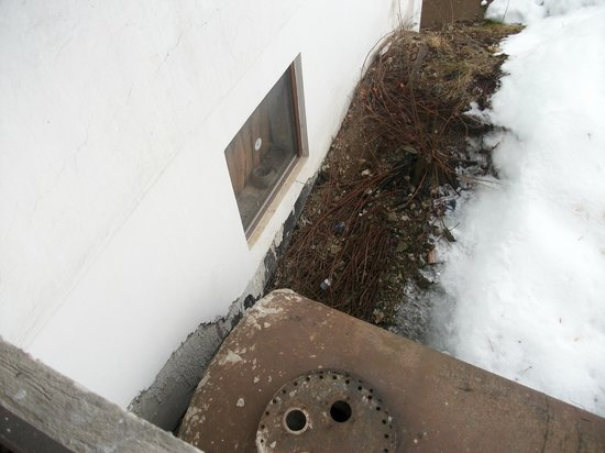 Hotel Bruggerhof: speptic tank below window
