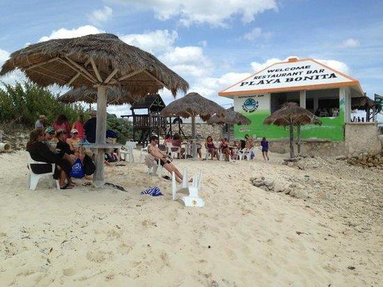 Cozumel Bar Hop: Our group relaxing at Playa Bonita