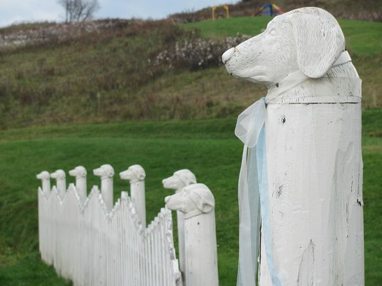 The Dog Chapel: posts outside the chapel