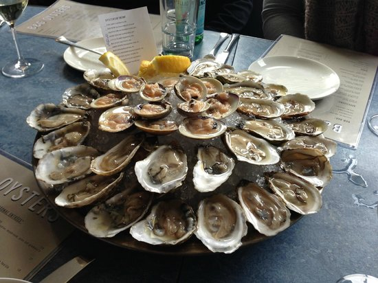 A selection of oysters and clams