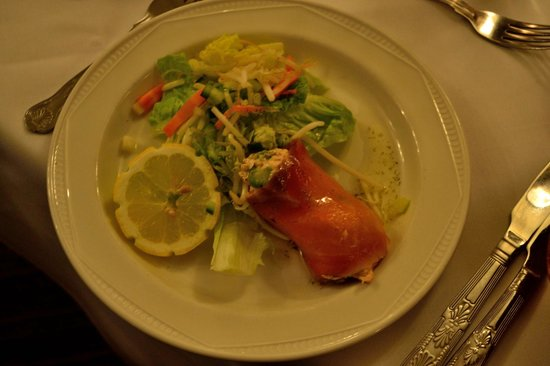 The Mill Hotel: Salmon mouse with smoked salmon wrap-starter