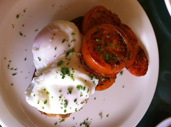 Emmas: Poached eggs with herby tomatoes served on Granary Bloomer