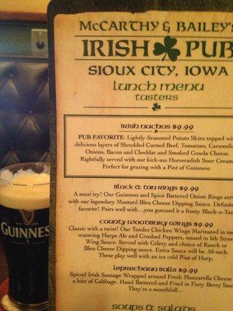 McCarthy & Bailey's Irish Pub: Menu