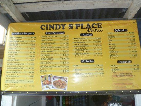 Cindy's Place: The Menu