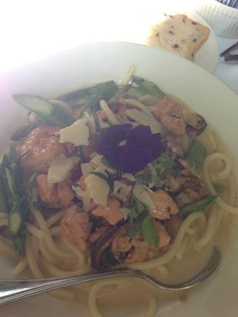 Julienne:                   Bucatini with Grilled Seafood, Asparagus, Basil, Sherry Cream Sauce