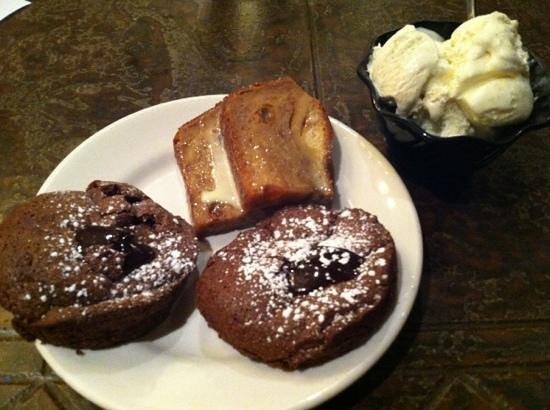 Cinzetti's: Chocolate Amore (molten lava) cakes, bread pudding and Vanilla Ice Cream!
