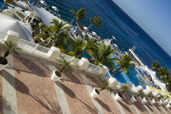 Cozumel Palace:                   Ocean view from room with pool areas