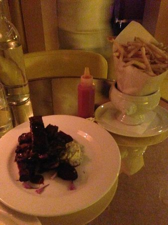 The Standard Downtown:                   lamb spare ribs and fries