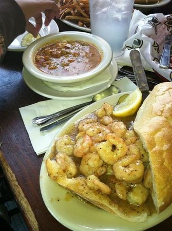 Liuzza's by the Track:                   BBQ shrimp poboy and crawfish étouffée