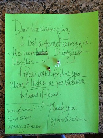 Hilton Stockton :                   This is the note we left with their response from Housekeeping