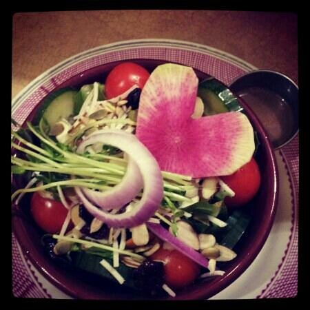 Good Natured Market and Cafe:                   The half salad with heart shaped watermelon radish Valentines day !