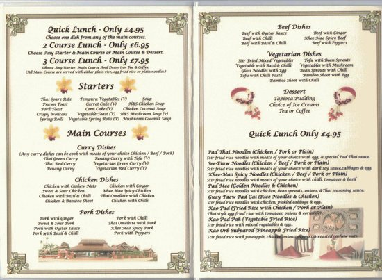 The Thai Orchid: Lunch Menu