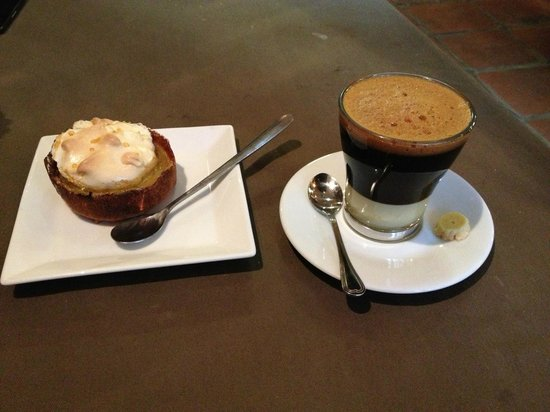 La Famille Restaurant & Lounge: Lemon curd and meringue tart, and Vietnamese coffee with condensed milk.