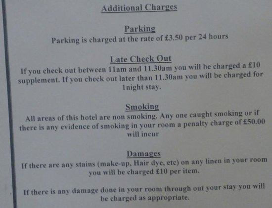 The Croham Hotel : charges