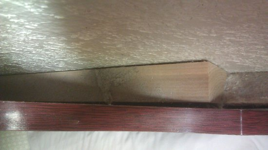 "Super 8 Kingsville: Dust behind Headboard, 12"" from your head."