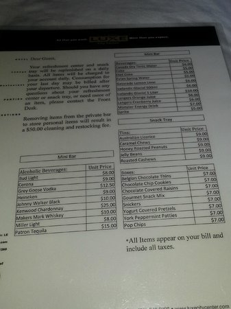 Luxe City Center Hotel: Mini Bar price list $50 charge!