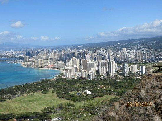 View of Honolulu/Waikiki Beach and Kapiolani Park from atop Diamond Head