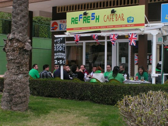 Refresh Cafe Bar: Spanish guests celebrating St. Patricks day with a lovely British breakfast and a guinness.