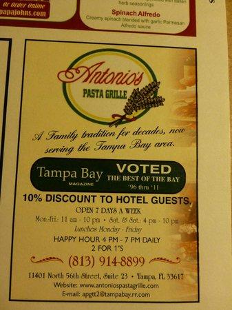 Antonio's Pasta Grille: 10% discount available