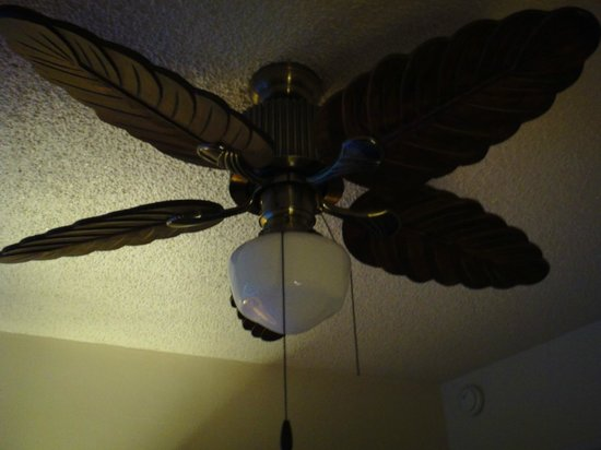 A Tropical Leaf Bladed Ceiling Fan Gave It A Vintage Retro