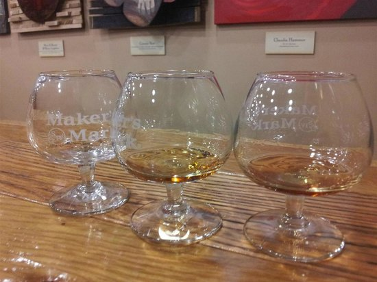 Maker's Mark: samples of white dog (unaged corn whiskey), makers, makers 46