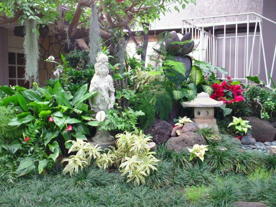 Pacific Marina Inn Airport: An oriental garden sits just outside the office