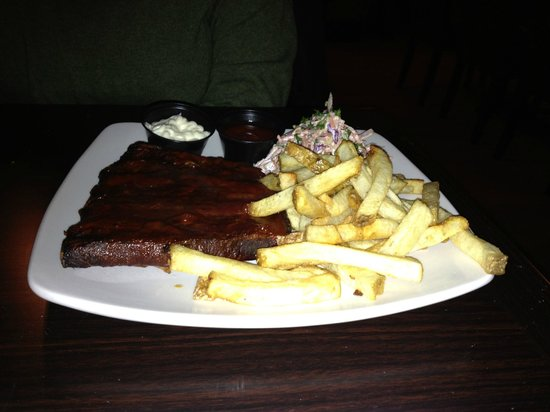 Three Below: Half ribs with fries and slaw