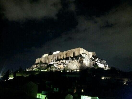 Byron Hotel: night shot of Acropolis from roof terrace