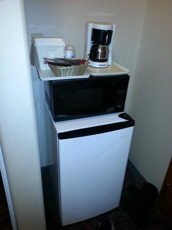 Comfort Inn & Suites University: Balancing act of fridge, microwave & coffee pot