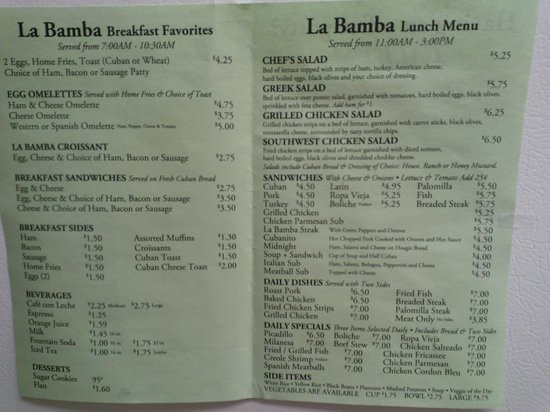 La Bamba Spanish Restaurant Menu Inside