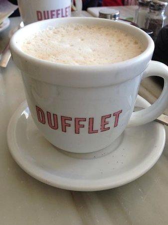 Dufflet Pastries Downtown: latte at Dufflet