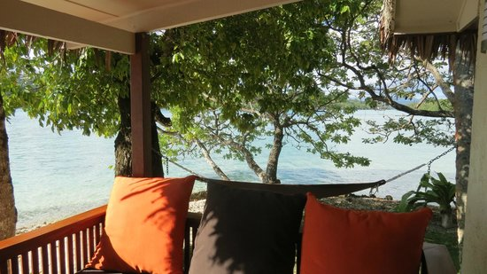 Erakor Island Resort & Spa: Sunbed and Hammock on our Bungalow Deck