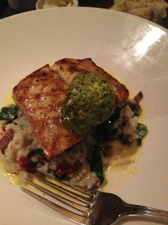 J.Gilbert's Wood-Fired Steaks & Seafood: Mahi Mahi Daily Special with Risotto and Pesto