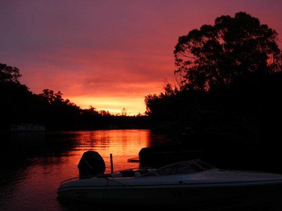 Cadell on the Murray: Firey sky on the Murray