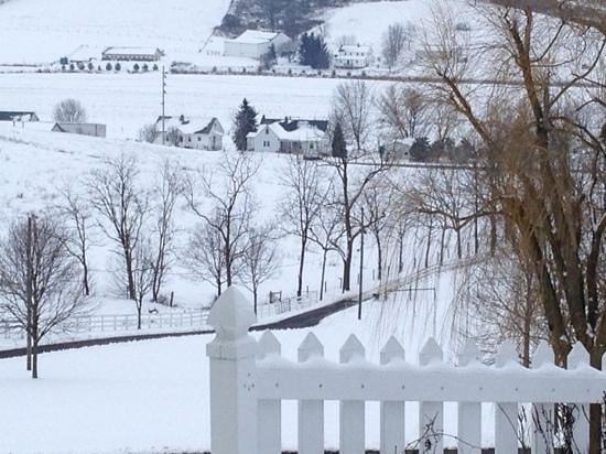 Miller Haus Bed and Breakfast: Overlooking the valley on a snowy morning.