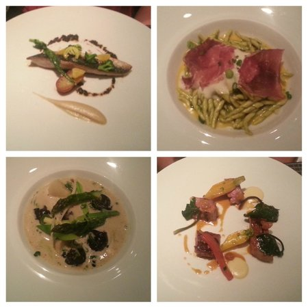 4 of the 7 dishes from our tasting menu picture of ze for Ze kitchen galerie menu